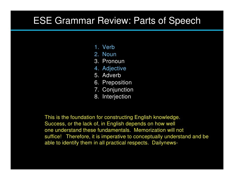 ESE Grammar Review: Parts of Speech                         1.   Verb                        2.   Noun                    ...