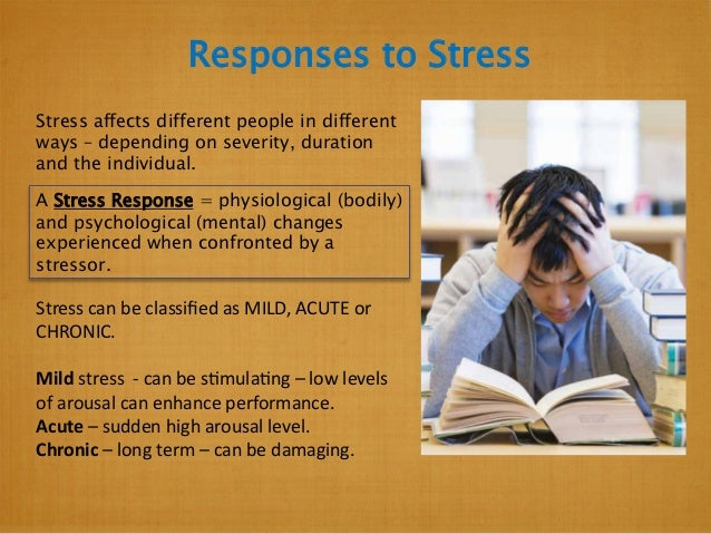 Responses to Stress Stress affects different people in different ways – depending on severity, duration and the individual...