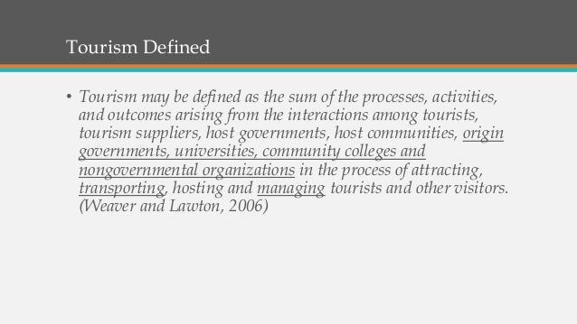 HPRINTOUR Lesson 1 tourism defined