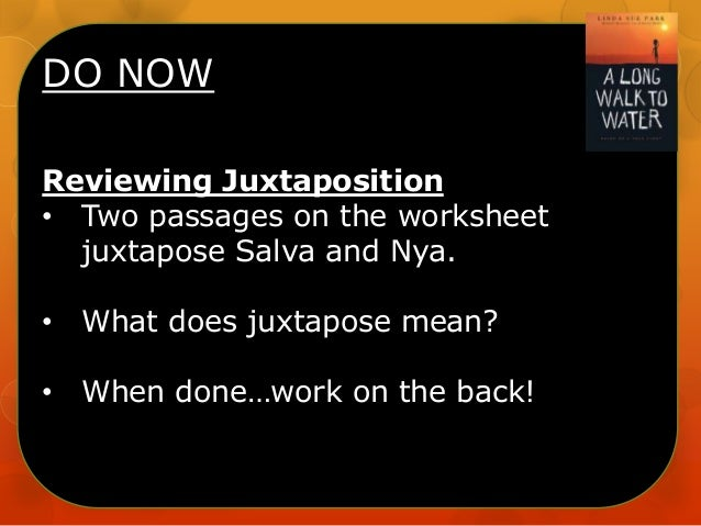 DO NOW Reviewing Juxtaposition • Two passages on the worksheet juxtapose Salva and Nya. •  What does juxtapose mean?  •  W...