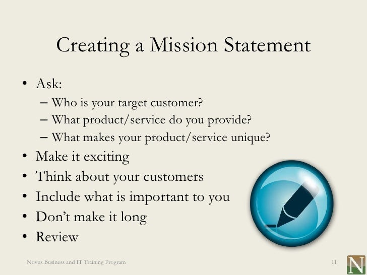 Establishing a mission statement
