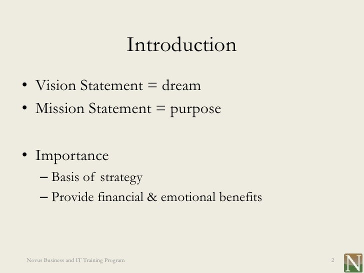 Lesson 1: Vision And Mission Statements