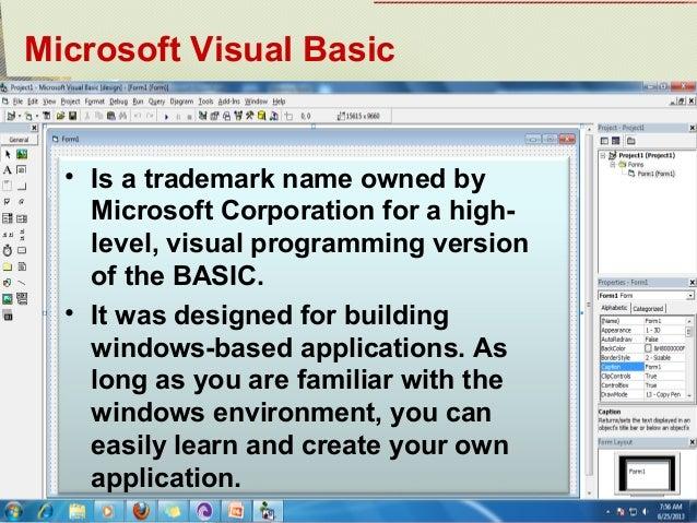 Lesson 1 visual basic programming