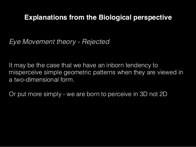 Explanations from the Biological perspective Eye Movement theory - Rejected It may be the case that we have an inborn tend...