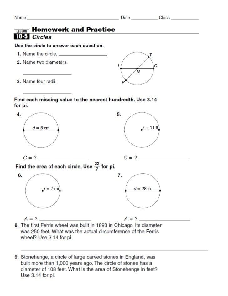 10 5 circle homework & practice (review)