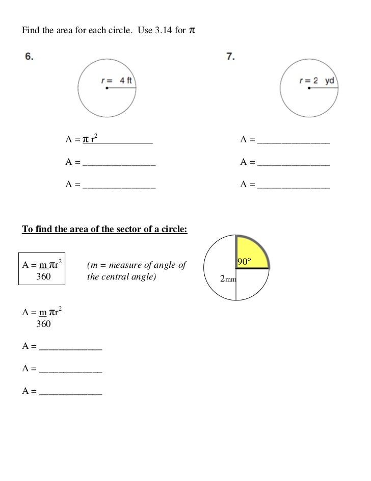 Lesson 10 5 circles area sector with answers