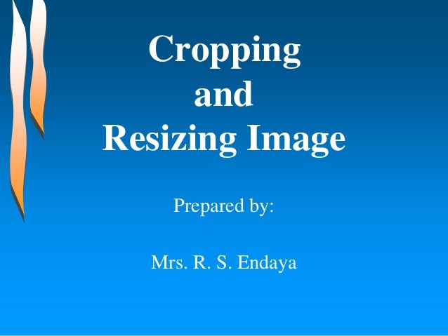 Cropping and Resizing Image Prepared by: Mrs. R. S. Endaya