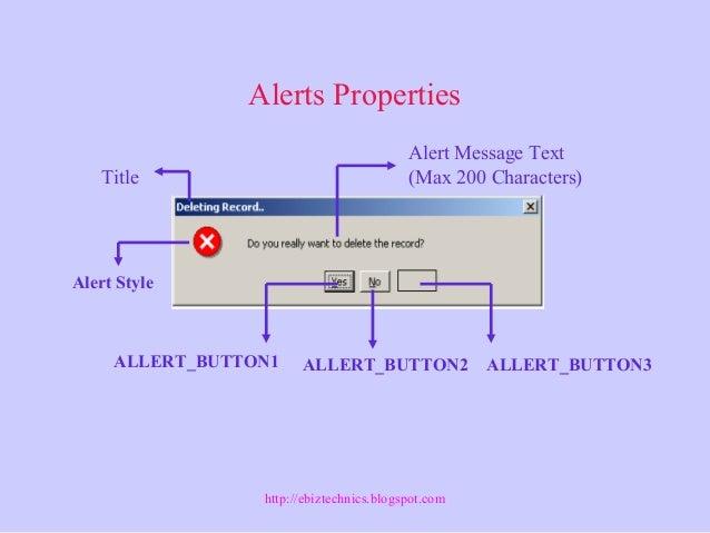 Alerts Properties Title ALLERT_BUTTON1 ALLERT_BUTTON3ALLERT_BUTTON2 Alert Message Text (Max 200 Characters) Alert Style ht...