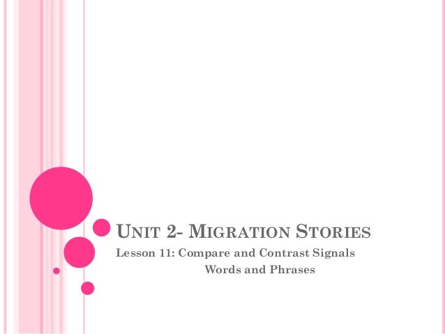 UNIT 2- MIGRATION STORIESLesson 11: Compare and Contrast Signals              Words and Phrases