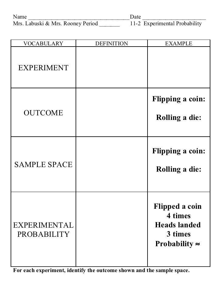 Lesson 11 2 experimental probability – Sample Space Worksheet