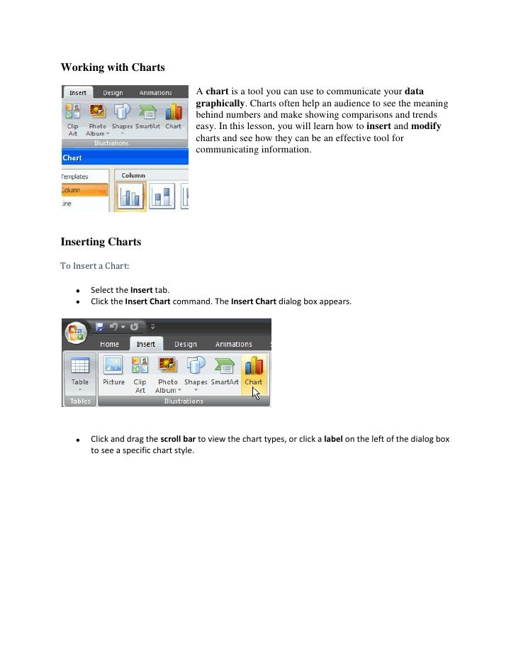 Working with Charts<br />19050-2510A chart is a tool you can use to communicate your data graphically. Charts often help a...