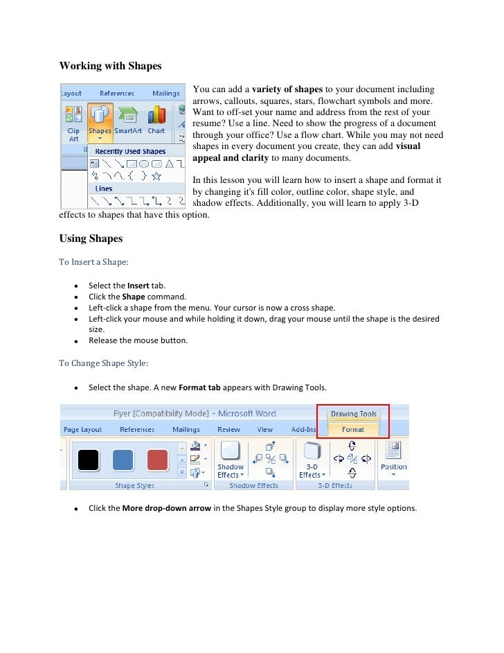 Working with Shapes<br />19050-3175You can add a variety of shapes to your document including arrows, callouts, squares, s...