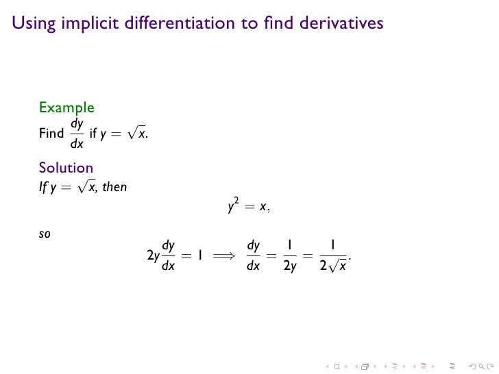 how to find implicit differentiation