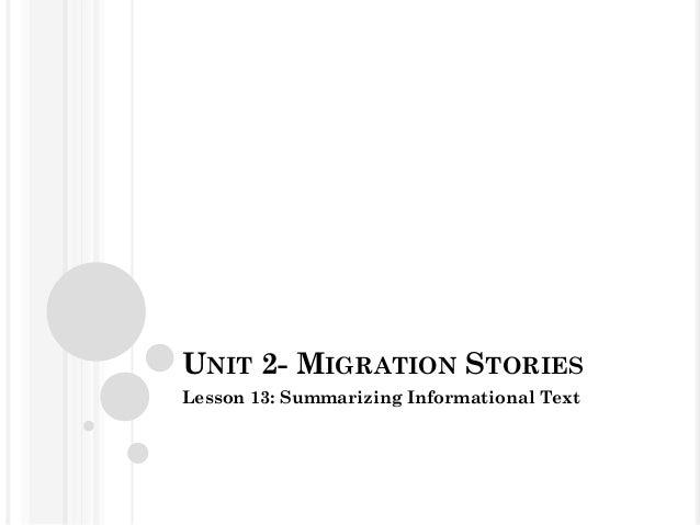 UNIT 2- MIGRATION STORIESLesson 13: Summarizing Informational Text