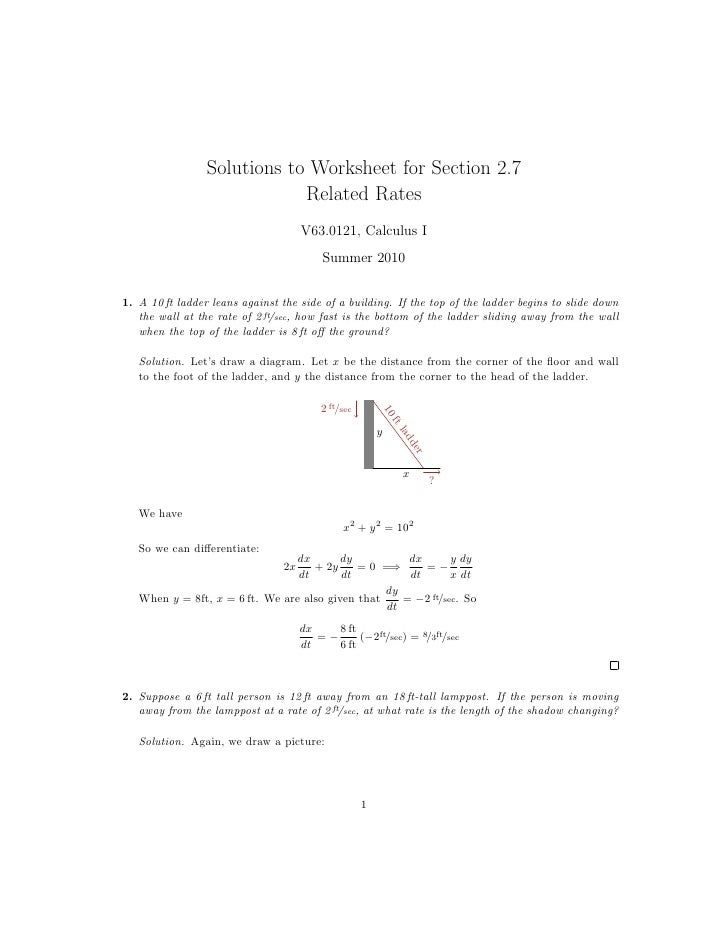 Related Rates Worksheet: Lesson 13  Related Rates (worksheet solutions),