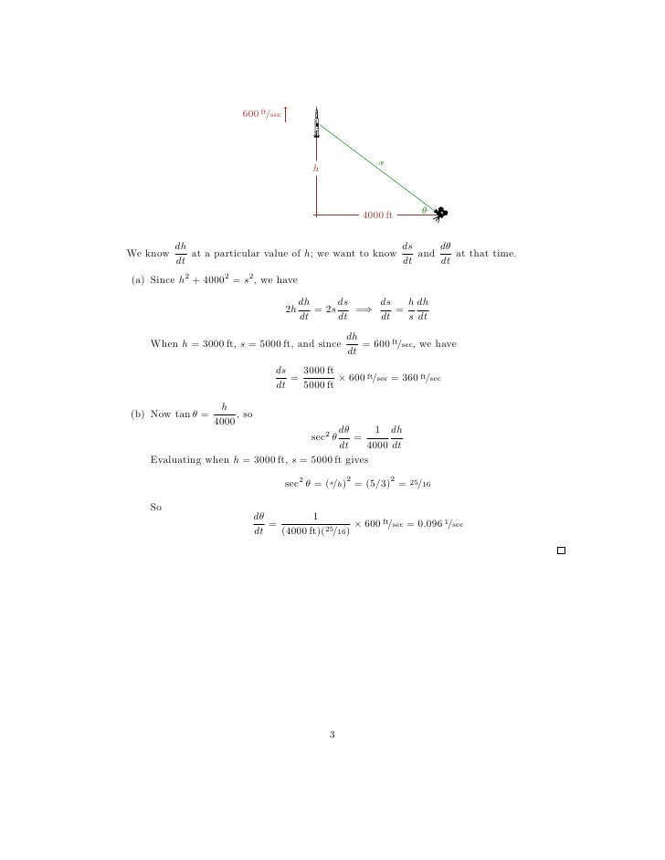Lesson 13 Related Rates worksheet solutions – Related Rates Worksheet