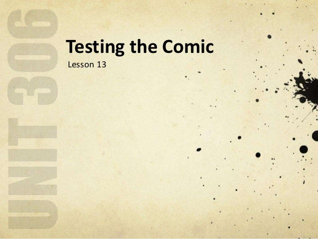 Testing the ComicLesson 13
