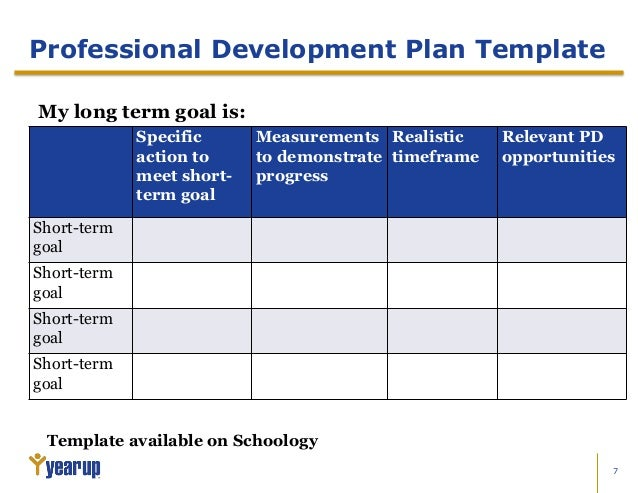 Professional Growth Plan Example  Ex