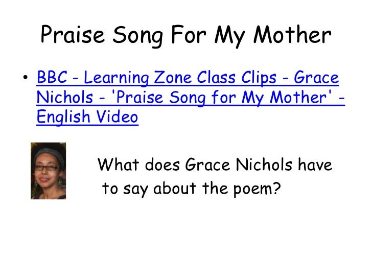 praise song for my mother poem analysis