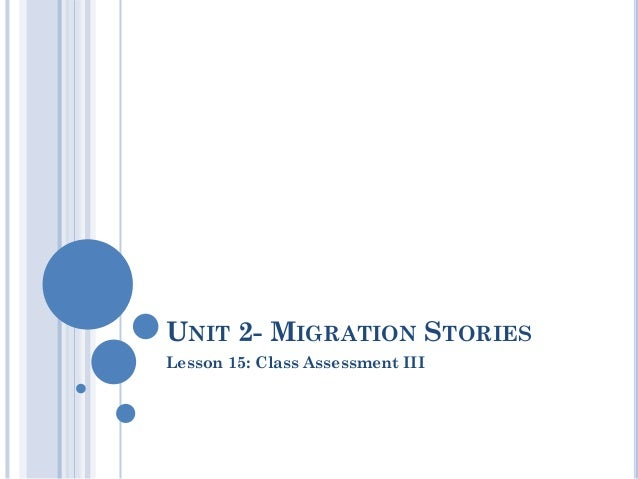 UNIT 2- MIGRATION STORIESLesson 15: Class Assessment III