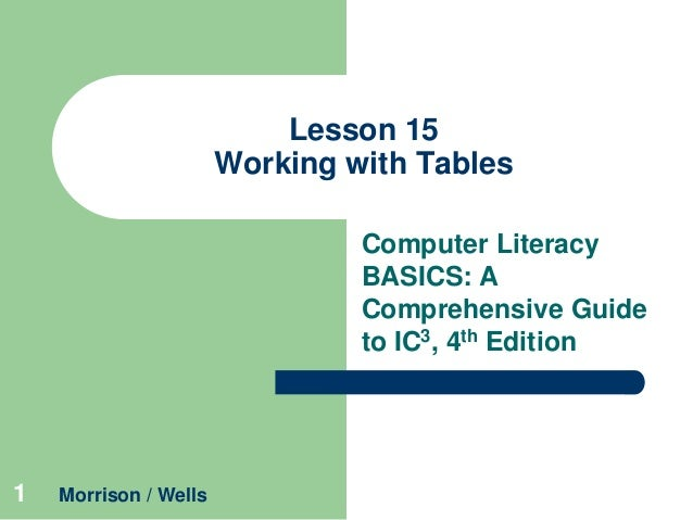 Lesson 15 Working with Tables Computer Literacy BASICS: A Comprehensive Guide to IC3, 4th Edition  1  Morrison / Wells