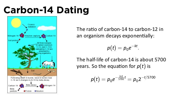 Carbon dating exponential equations