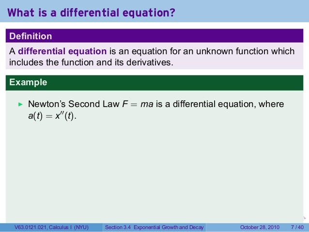 Carbon dating differential equation 7