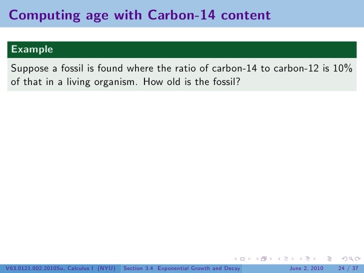 Carbon 14 dating exponential equation word 1
