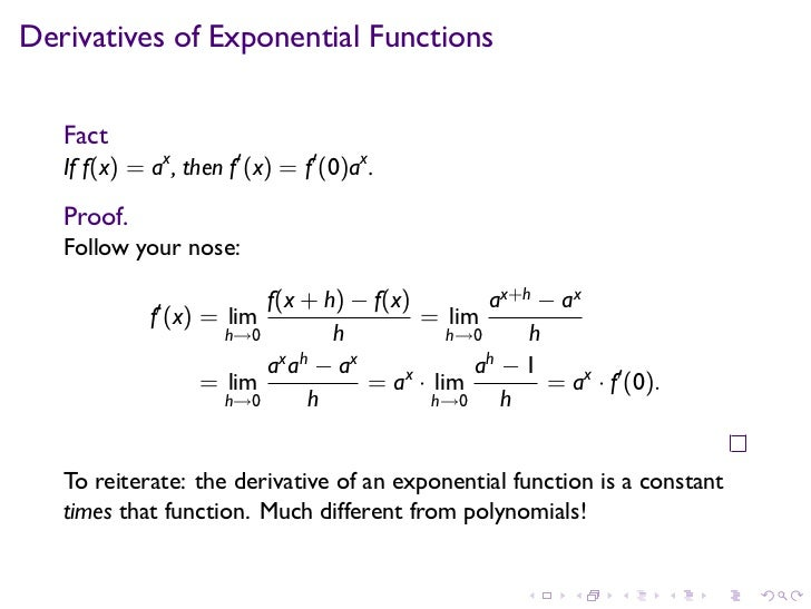 Lesson 16: Derivatives of Exponential and Logarithmic Functions