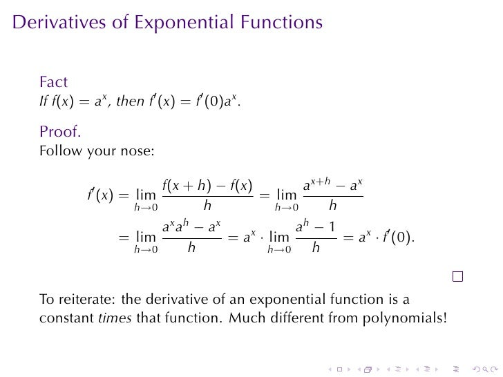 Lesson 16: Derivatives of Logarithmic and Exponential Functions