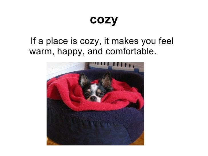 cozy <ul><ul><li>If a place is cozy, it makes you feel warm, happy, and comfortable.   </li></ul></ul>