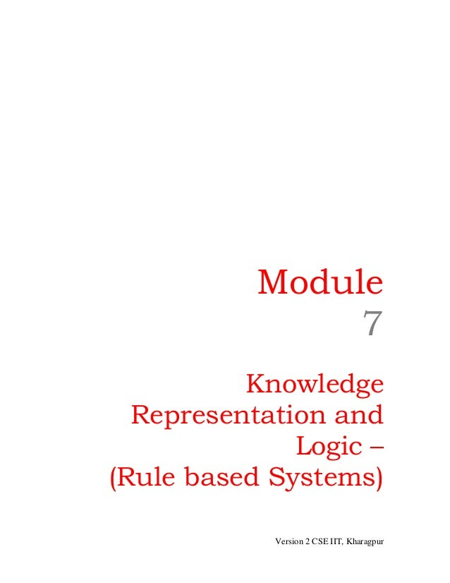 Module                7          Knowledge  Representation and              Logic –(Rule based Systems)            Version...