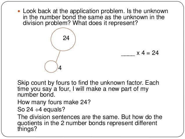 Write a division sentence to represent the problem of induction