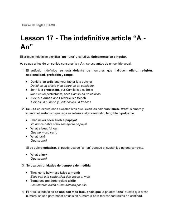 Que significa articulo indefinido en ingles