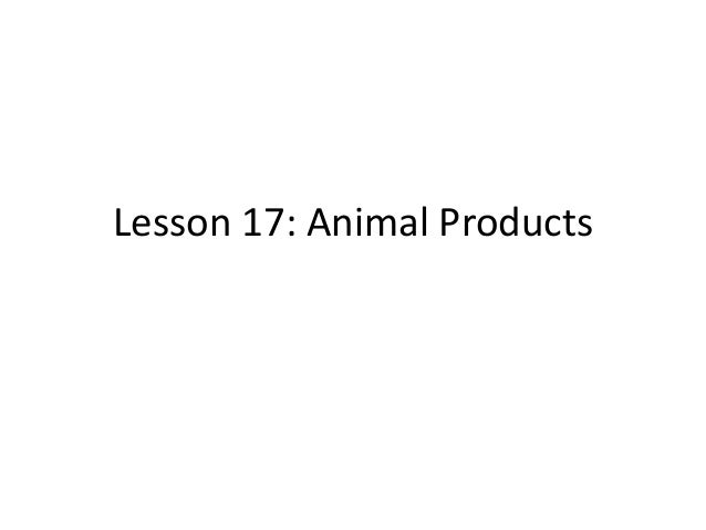 Lesson 17: Animal Products