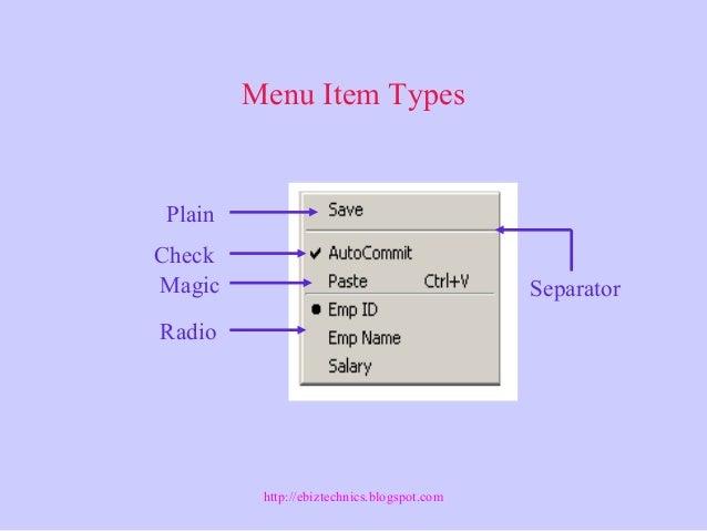 Oracle Forms: Menu