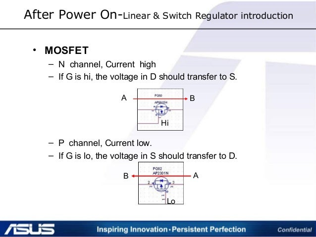 After Power On-Linear & Switch Regulator introduction • MOSFET – N channel, Current high – If G is hi, the voltage in D sh...