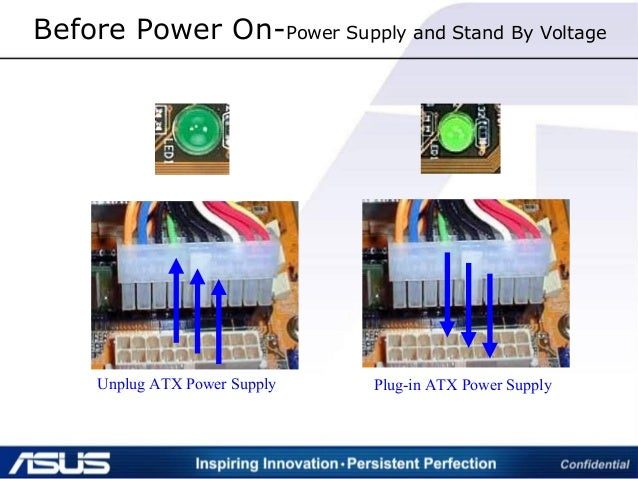Before Power On-Power Supply and Stand By Voltage Unplug ATX Power Supply Plug-in ATX Power Supply
