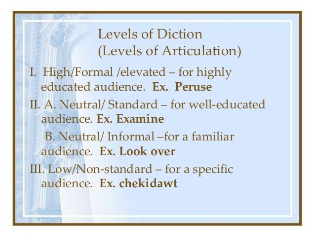 Levels Types Of Diction