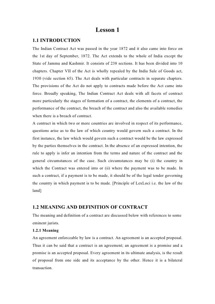 Lesson 11.1 INTRODUCTIONThe Indian Contract Act was passed in the year 1872 and it also came into force onthe 1st day of S...