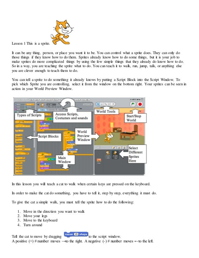 Scratch Lesson 1 move with arrow keys