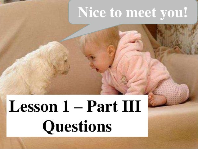 Lesson 1 – Part III Questions Nice to meet you!