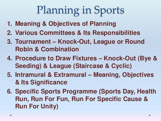 Lesson 1 planning in sports for Extra mural meaning