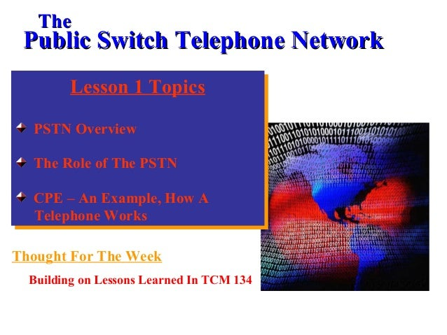 Lesson 1 Topics PSTN Overview The Role of The PSTN CPE – An Example, How A Telephone Works Lesson 1 Topics PSTN Overview T...