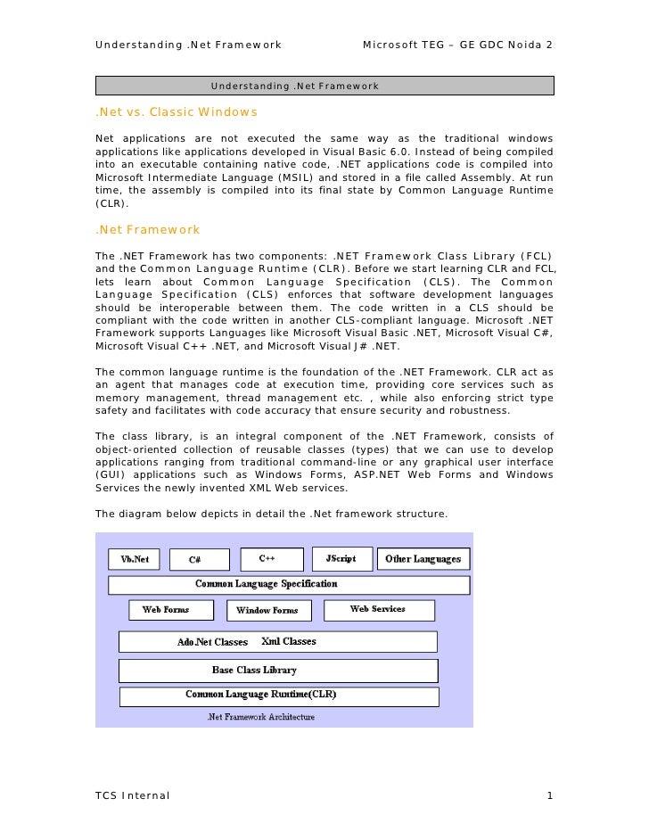 Understanding .Net Framework                      Microsoft TEG – GE GDC Noida 2                        Understanding .Net...
