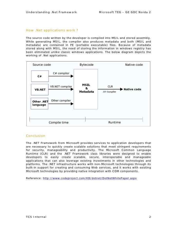 Understanding .Net Framework                     Microsoft TEG – GE GDC Noida 2     How .Net applications work ?  The sour...