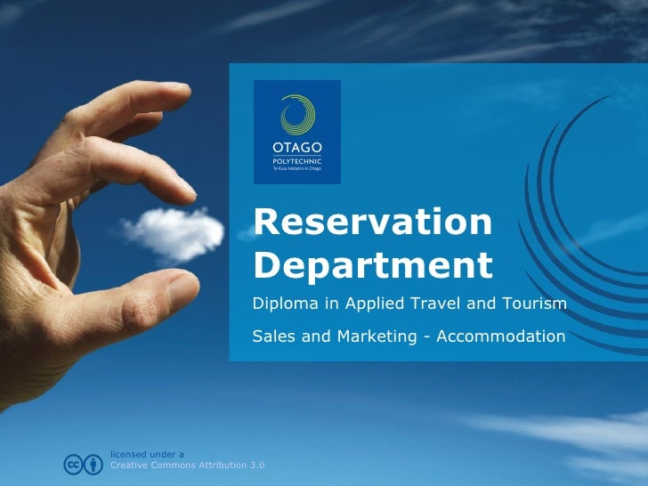 Reservation Department Diploma in Applied Travel and Tourism Sales and Marketing - Accommodation