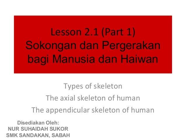 Lesson 2.1 (Part 1)     Sokongan dan Pergerakan     bagi Manusia dan Haiwan                Types of skeleton           The...
