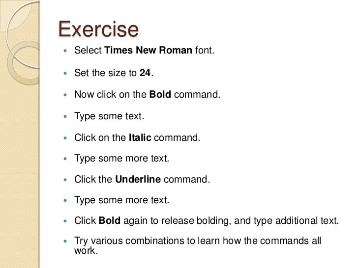 8 Exercise Select Times New Roman Font