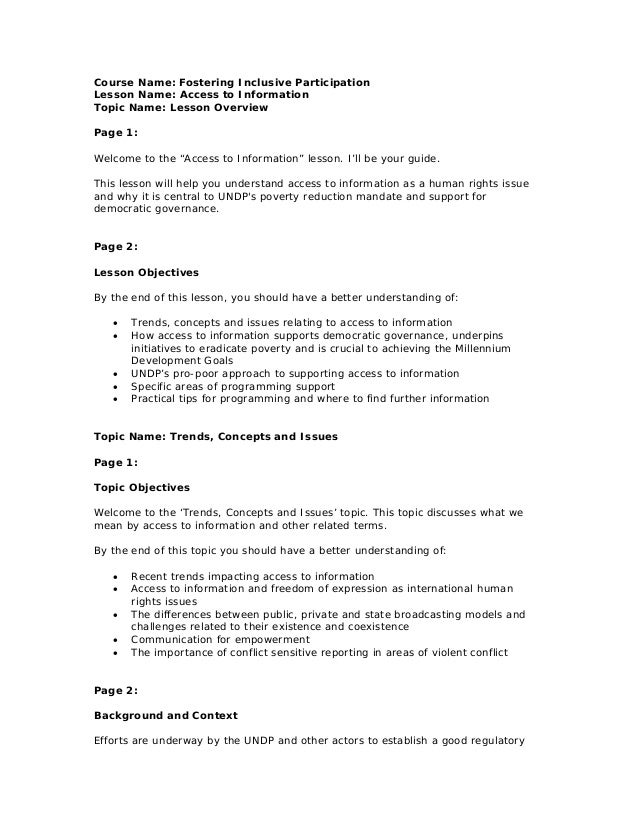 Course Name: Fostering Inclusive ParticipationLesson Name: Access to InformationTopic Name: Lesson OverviewPage 1:Welcome ...